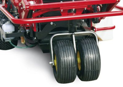 Twin wheels, for light pressure over lawns.